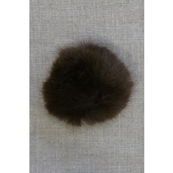 Pels-pompon i akryl i mørkebrun, 8 cm.-20