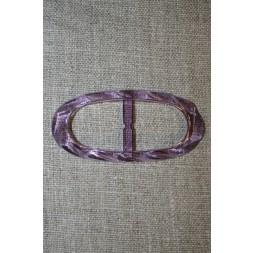 Plast spænde oval klar 20 mm. lilla-20