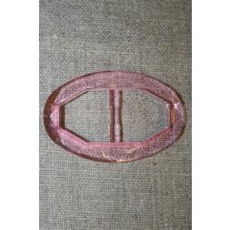 Plast spænde oval klar 20 mm. lys pink-20