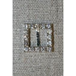 Spænde m/simili-sten firkant, 15 mm.-20