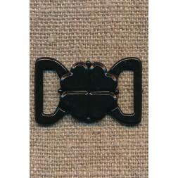 Bikini-lukning i sort plast 13 mm.-20