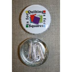 Click-clack-æske m/knappenåle, hvid Quilting is for squares-20