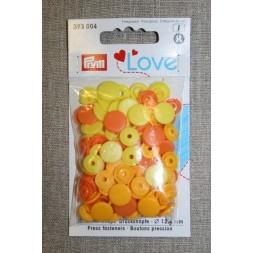 Plast-trykknap rund, gul/solgul/lys orange-20