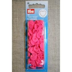 Plast-trykknap hjerte, pink-20