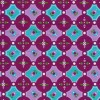 Bomuld m/cirkler/mønster cerisse/aqua/lyselilla-01