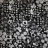 rest Bomulds-satin m/struktur and blomster sort/hvid, 30 cm.-05