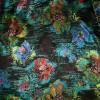 Chiffon silke/polyester i sort med blomster i petrol rød-02