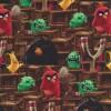 Bomuld-lycra økotex stof med digitalt tryk, m Angry Birds, brun-05