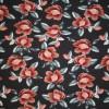 Bomulds jersey økotex digitalt print støvet mørkeblå med gammel rosa blomster-08