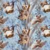 Afklip Bomuld/lycra økotex m/digitalt tryk, koala i lyseblå 40x60 cm.-05
