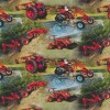 Bomuld/lycra økotex m/digitalt tryk, med små traktor i rød-02