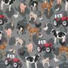 Bomuld/lycra m/digitalt tryk med traktor og bondegårdsdyr-05