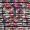 Jersey / strik med uens striber og mønster i sort hvid pink og blå-015