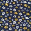 Bomuld/lycra økotex i støvet mørkeblå med blomster i hvid og gul-08