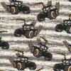 Bomuld/lycra økotex i offwhite med grønne traktor-010