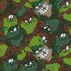 Bomuld/lycra økotex med tegning af dyr i grøn brun-017