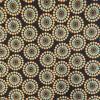 Bomuldsjersey økotex m/digitalt tryk med retro cirklel/blomst i sort carry turkis-017