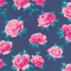 Rest Bomuld/lycra økotex med roser i denim lyserød pink 80 cm.-06