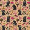 Bomuld/lycra økotex i lys laks med sorte katte og blomster-08