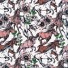 Bomuld/lycra økotex i hvid med heste og blomster-011