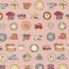 Rest Patchwork stof i rosa med kopper, 25 cm.-01