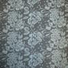 Rest Jacquard strik m/blomster sort/lys turkis-blå 75 cm.-03