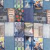 Strik i Viscose/lycra digitalprint i cowboy look med firkanter-030