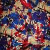 Rest 100% viscose m/blomster/pletter, blå/rød/beige, 35 cm.-04