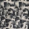 100% viskose med firkant-mønster i sort og pudder-beige-024