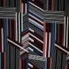 100% viskose med stribe-mønster i sort rosa blå-011