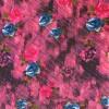 100% viskose med digitalt print i grovvævet look med blomster i pink-016