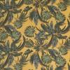 100% viskose twill-vævet okker-gul med blade i flaskegrøn-027