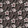 100% viskose blomstret i sort, knækket hvid og mørk rød-023