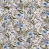 Voil i viskose/bomuld med blomster og blade i hvid army blå-09