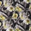 Jersey i Viscose/lycra digitalprint med store blomster i sort grå gul-025