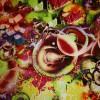 Viscose/lycra m/digitalt print, lime/gul/rød-01