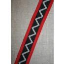 Sportsbånd med zig-zag sort-rød-off-white