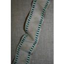 Bånd med metaltråde hør-grøn/hvid, 40 mm.