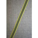 Stribet bånd gul/sort/hvid, 10 mm.
