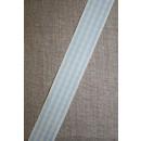 Ternet bånd off-white/lyseblå, 25 mm.