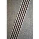 Ternet bånd off-white/mørkebrun, 25 mm.