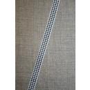 Grosgrainbånd m/hanefjed hvid/sort 10 mm.