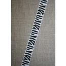 Grossgrain-bånd med zebra-striber 15 mm.