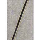 Stribet bånd med lurex, sort- guld 10 mm.