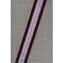 Rest Stribet bånd med lurex, rosa/kobber- sølv- sort 25 mm.- 70 cm.