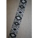 Elastik 50 mm. med rude-mønster sort - grå - lysegrå