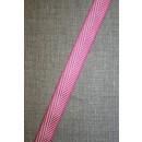 Grosgrainbånd med sildeben pink og hvid