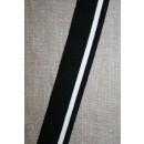 Ribkant stribet sort og hvid 30 mm x 110 cm.