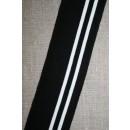 Ribkant stribet sort og hvid 50 mm x 100 cm.