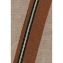 Ribkant stribet i kobber guld sort 60 mm x 105 cm.